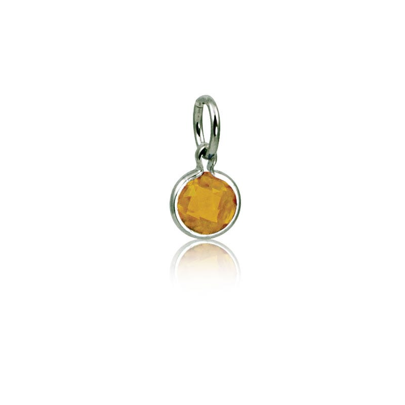 November Citrine Round Mommy Chic Birthstone Charm
