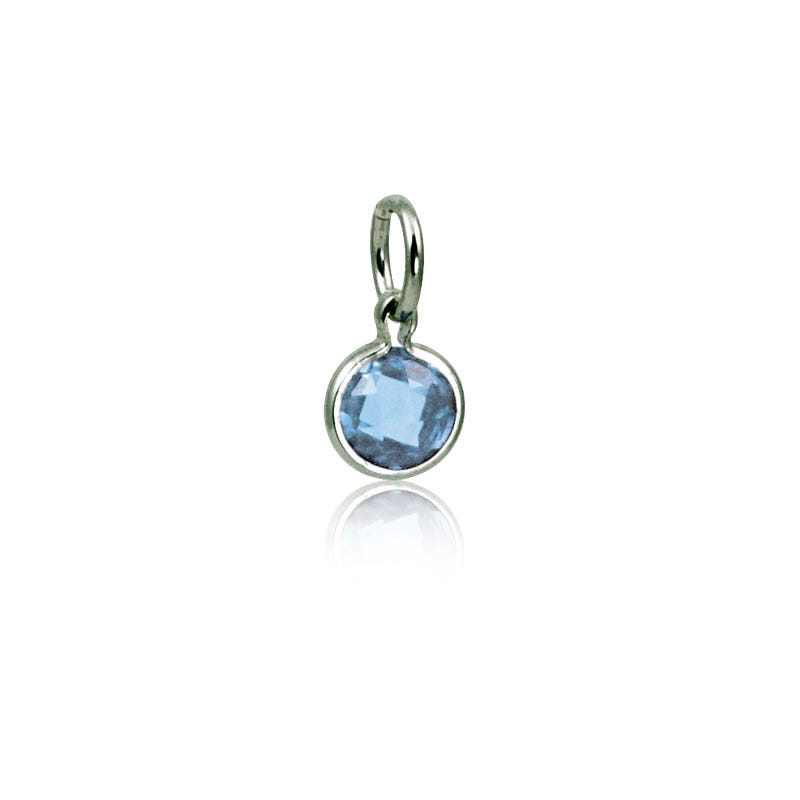December Blue Topaz Round Mommy Chic Birthstone Charm
