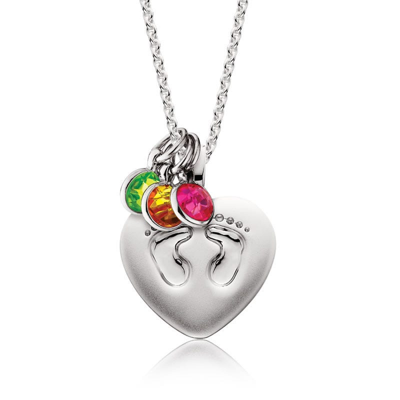 Heart Footprints Mommy Chic Pendant in Sterling Silver