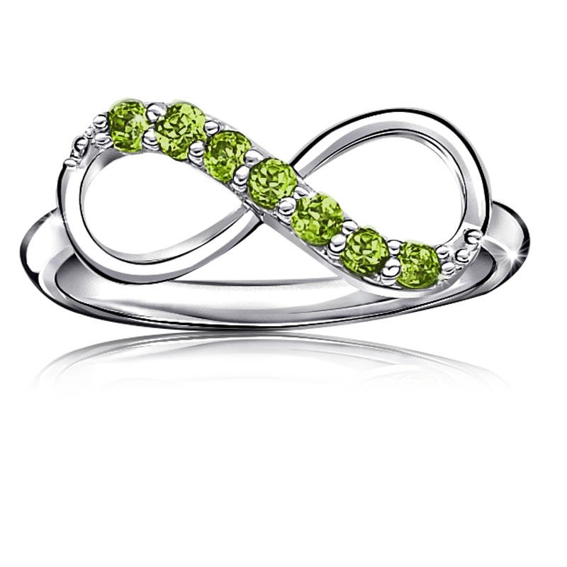 Peridot Infinity Ring in Sterling Silver