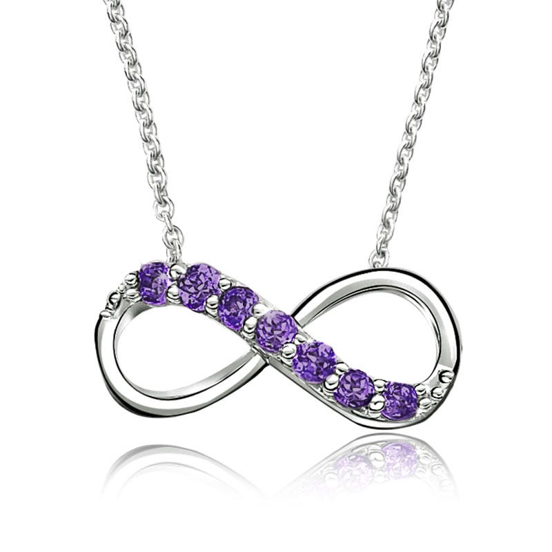 Amethyst Infinity Necklace in Sterling Silver