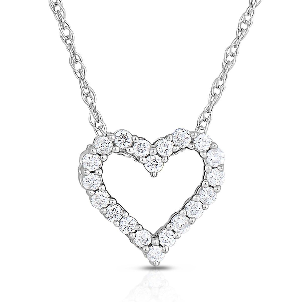 Diamond 1/10ctw. Heart Pendant in 10k White Gold