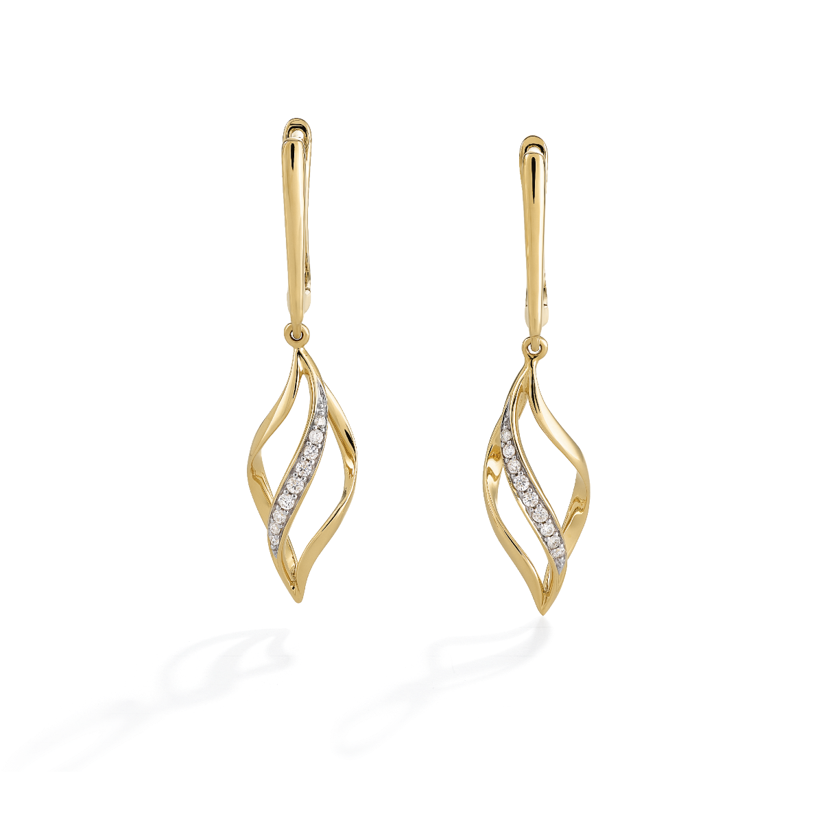 Curved Diamond Drop Earrings