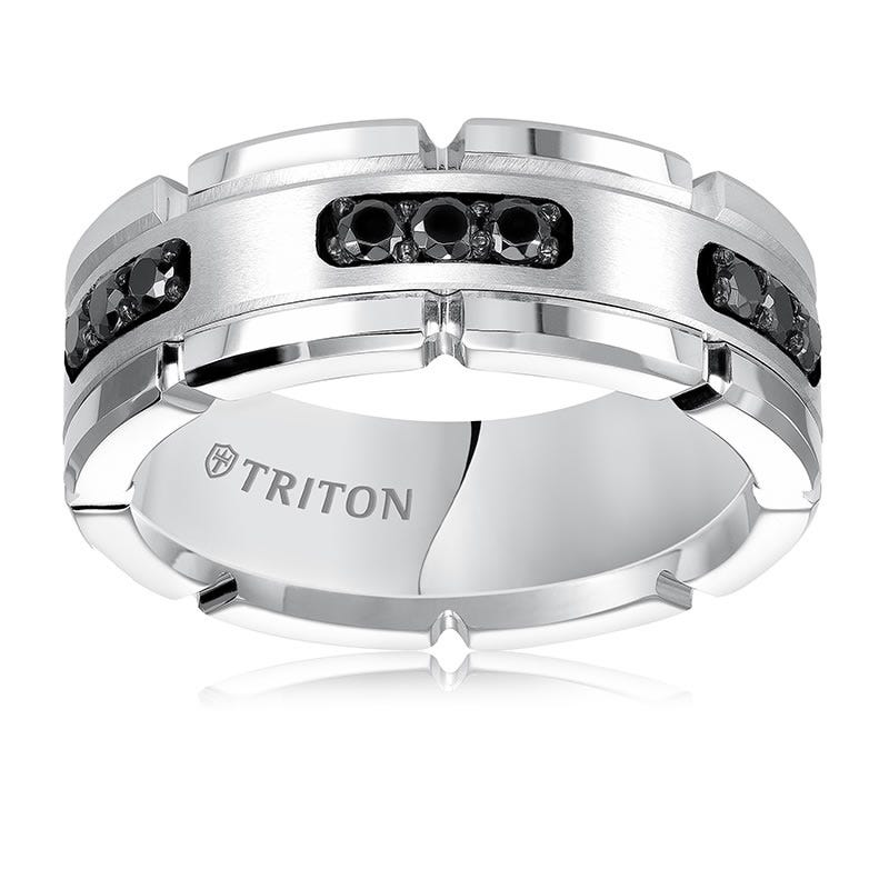 Triton Tungsten Black Diamond Comfort Fit Wedding Band