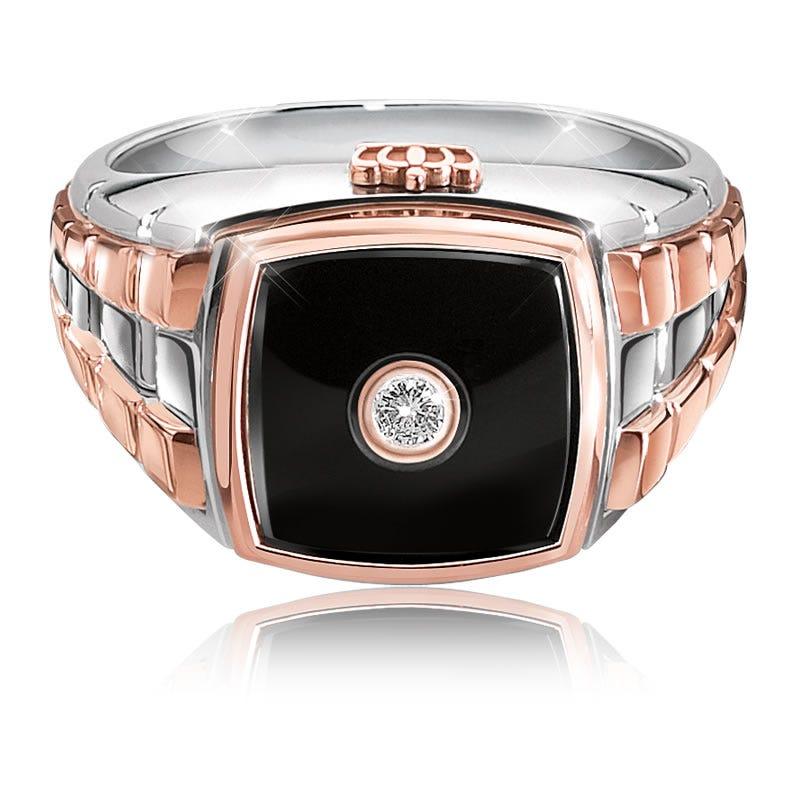 JK Crown® Men's Diamond & Onyx White & Rose Gold Ring