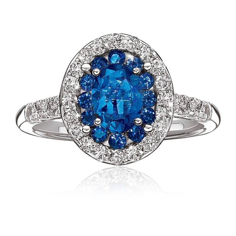 Blue Sapphire & Diamond Halo White Gold Ring