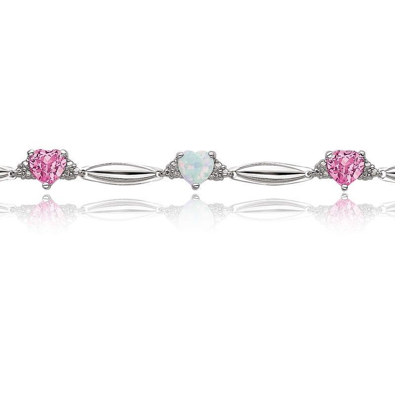 Created Opal, Created Pink Sapphire Hearts & Diamond Bracelet