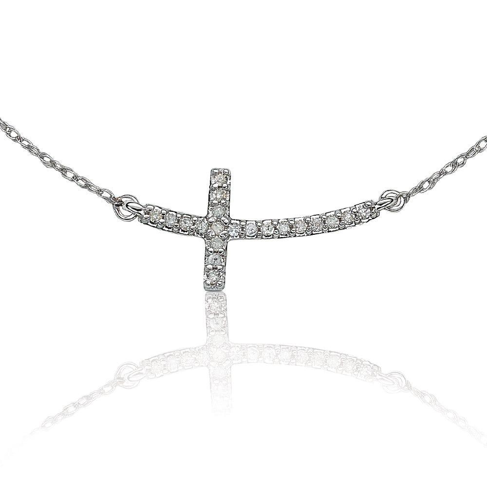 Diamond Sideways Cross Pendant 1/10ctw.