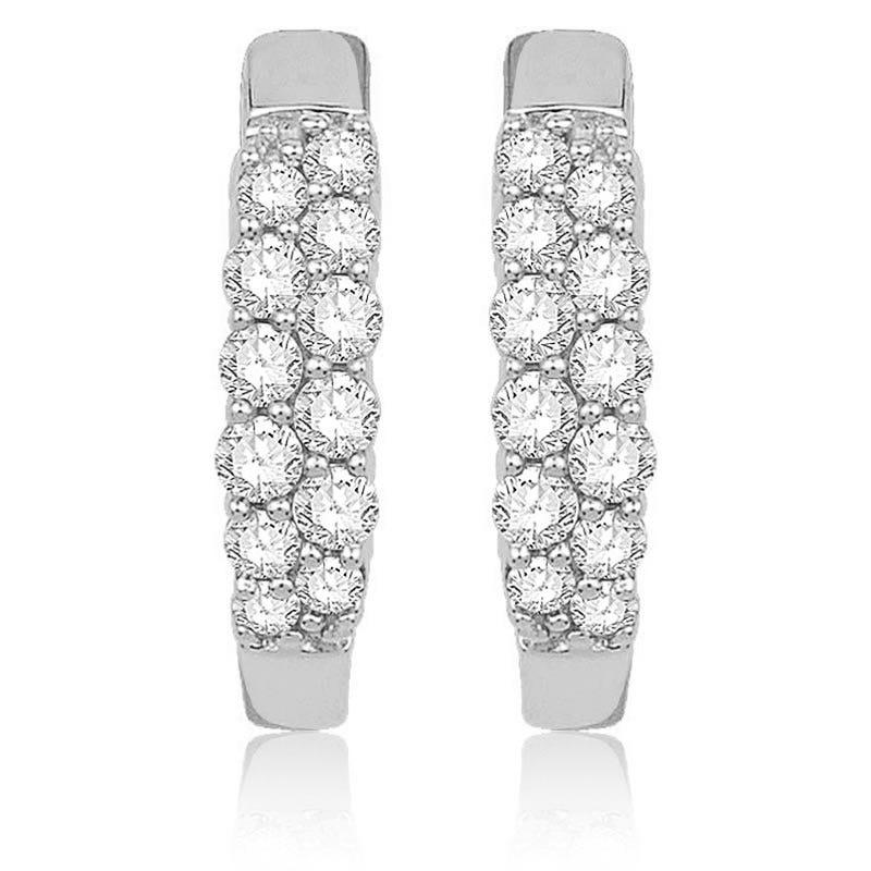 Double Row Diamond Hoop Earrings ¼ctw. in 10k White Gold