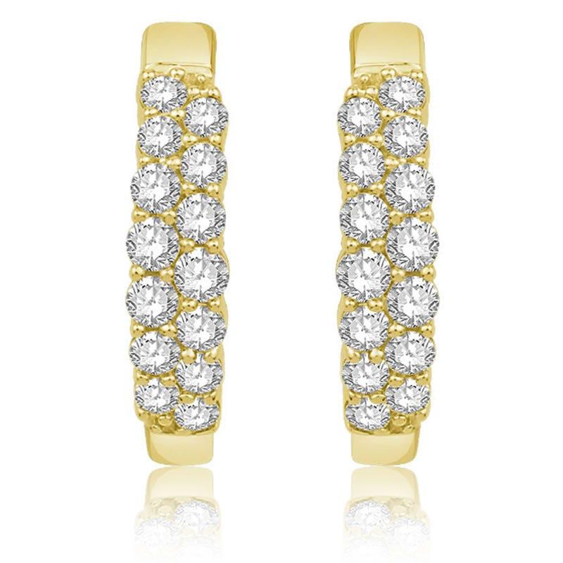 Double Row Diamond Hoop Earrings ½ctw. in 14k Yellow Gold