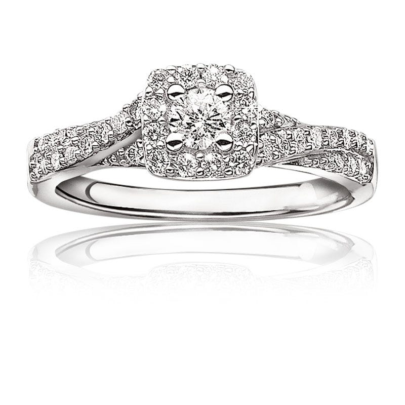 Alexa. Brilliant-Cut Pavé Diamond Halo Engagement Ring 1/2ctw. 14k White Gold
