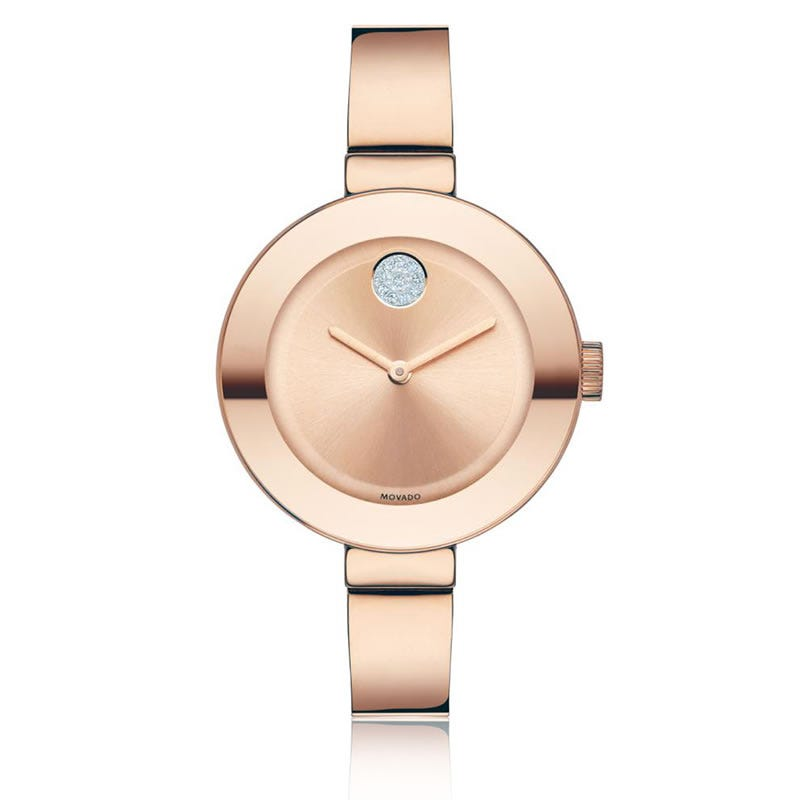 Movado BOLD Mid-Size Crystal Watch Ionic Rose 3600202