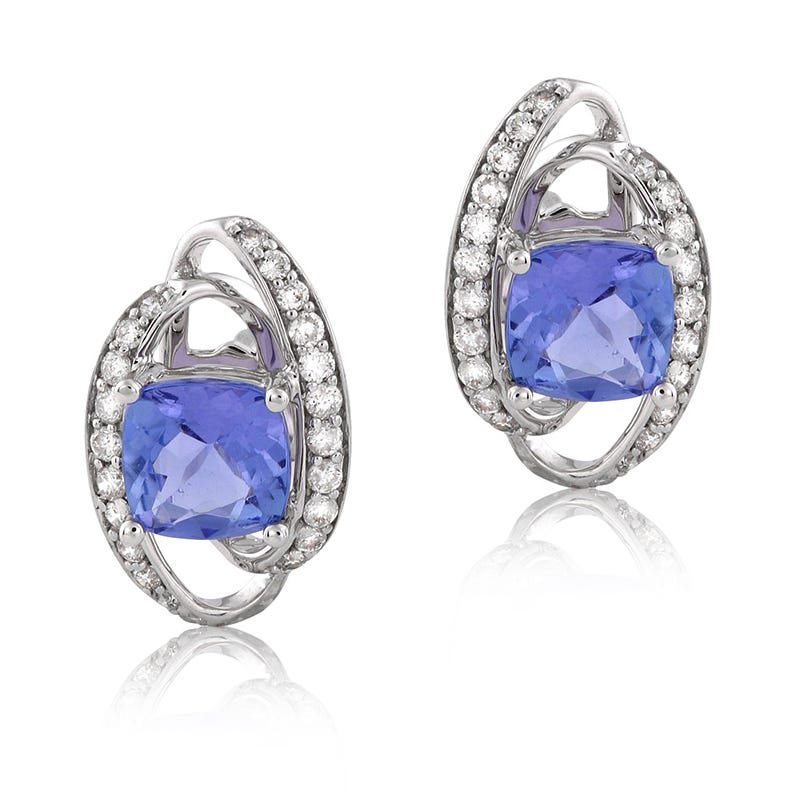 Tanzanite & Diamond Stud Earrings