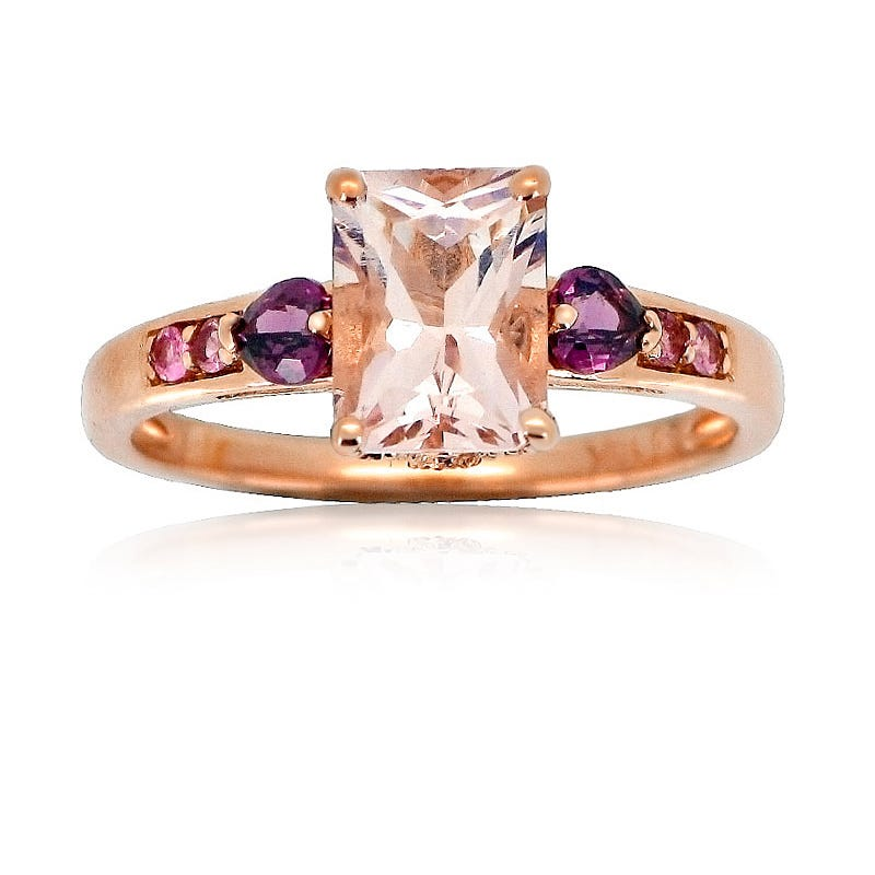 JK Crown® Emerald-Cut Morganite with Garnet Hearts Ring in 10k Rose Gold