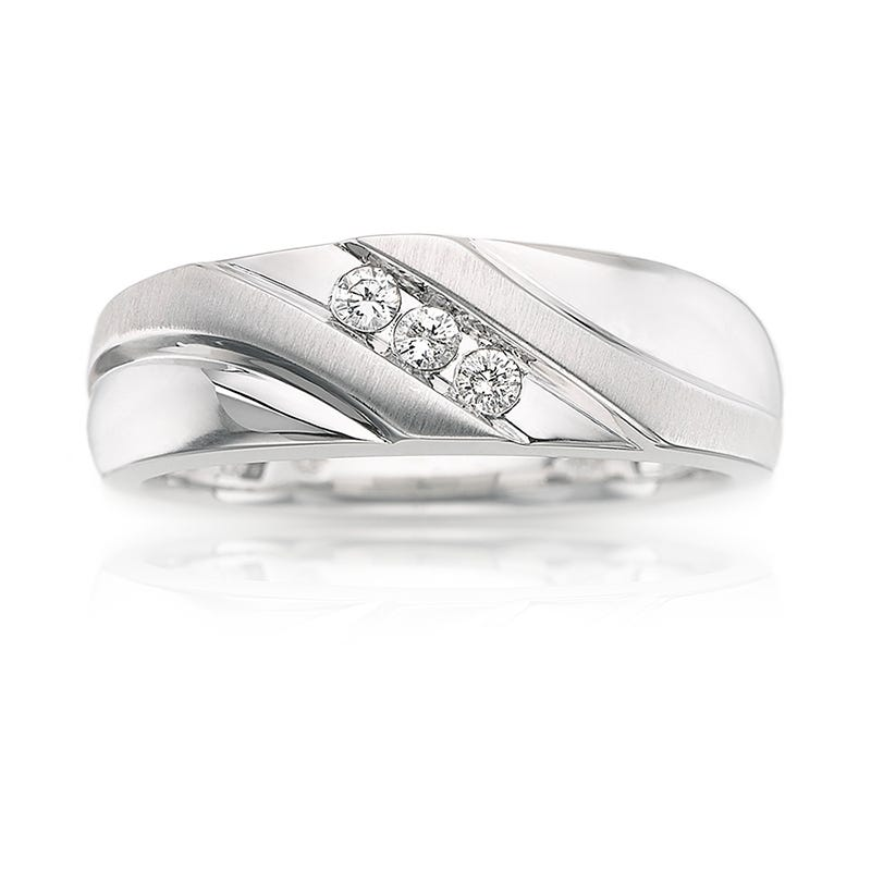 Men's 3-Stone Diamond Wedding Band in 10k White Gold