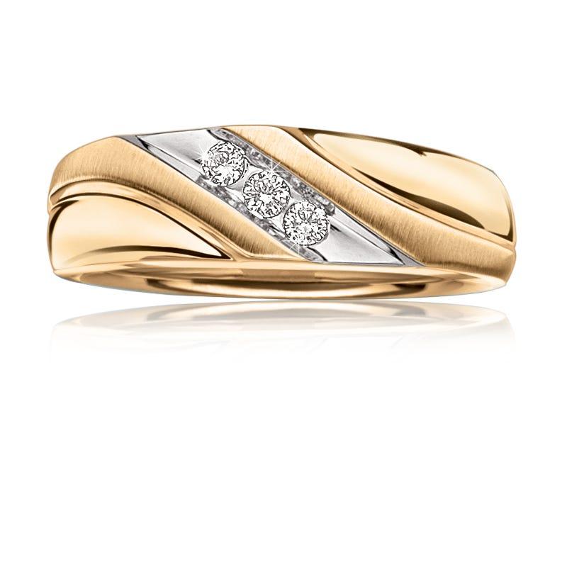Men's 3-Stone Diamond Wedding Band in 10k Yellow & White Gold