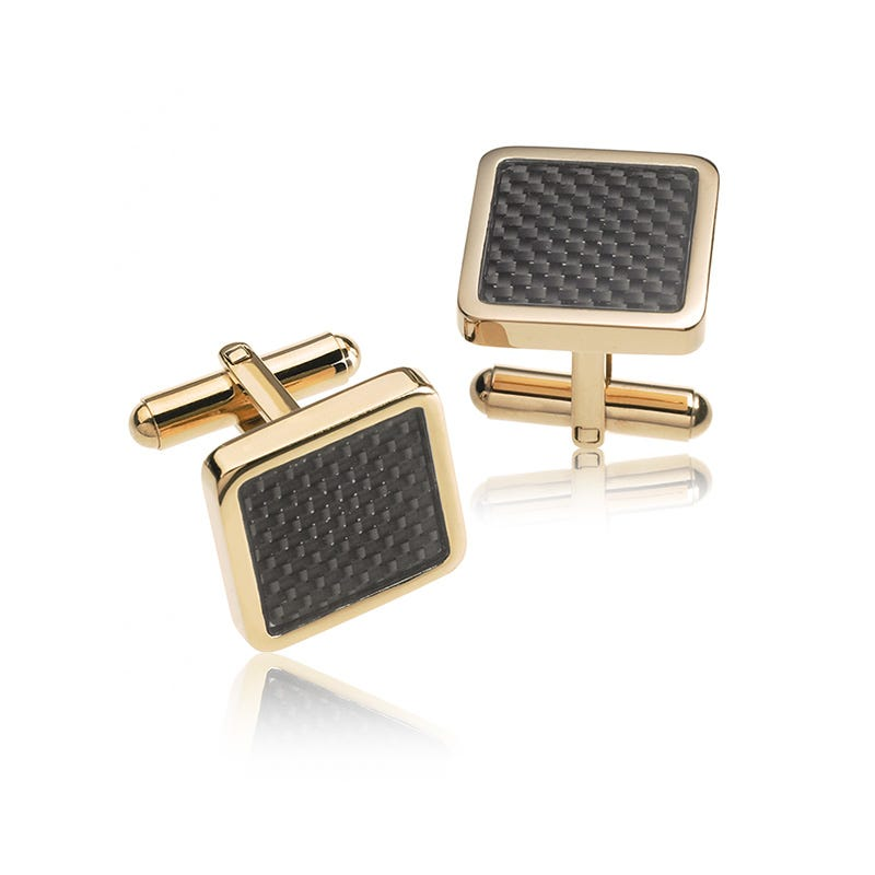 Square Yellow-Tone & Black Carbon Fiber Cufflinks in Stainless Steel