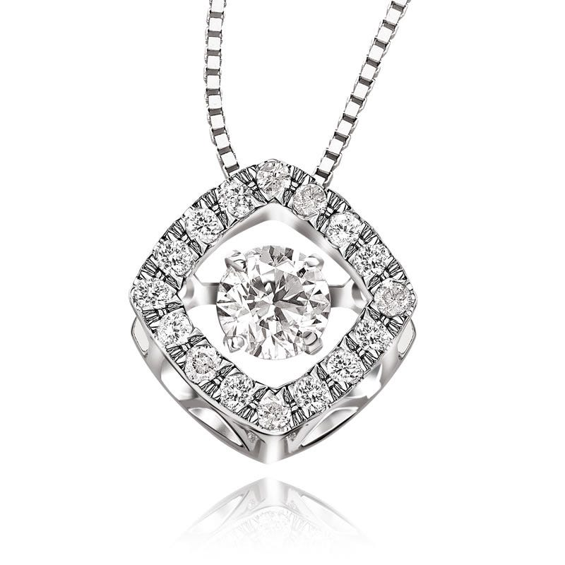 Beats of Love 1/3ct. t.w. Diamond Cushion Pendant in 14k White Gold