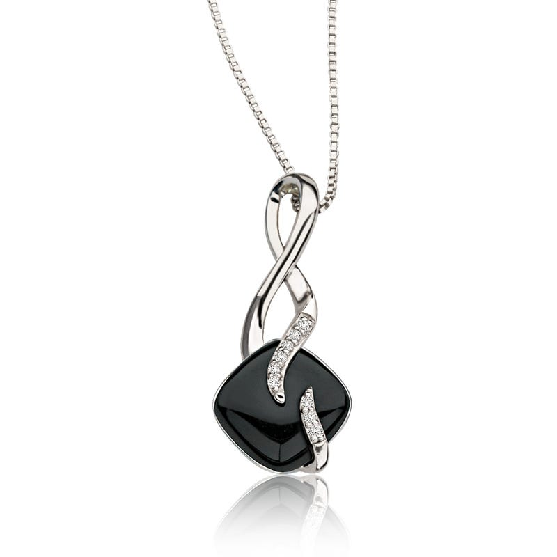 Black Onyx & Diamond Pendant in Sterling Silver