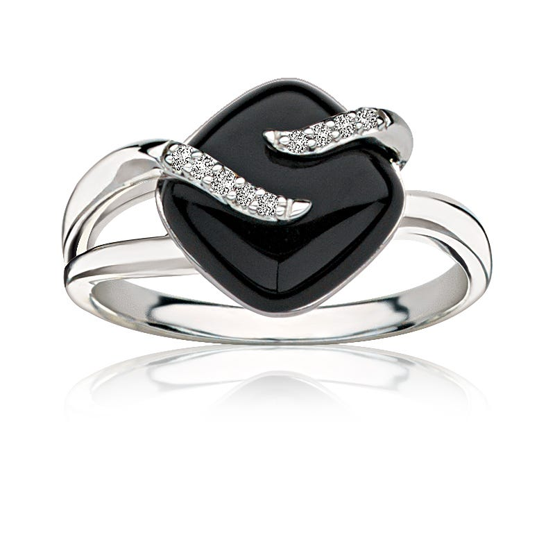 Onyx & Diamond Ring in Sterling Silver
