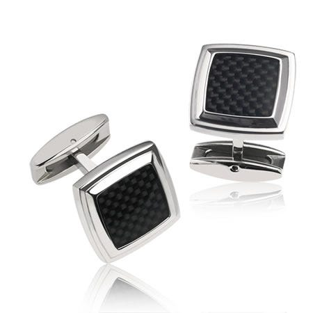 Square Black Carbon Fiber Cufflinks in Stainless Steel