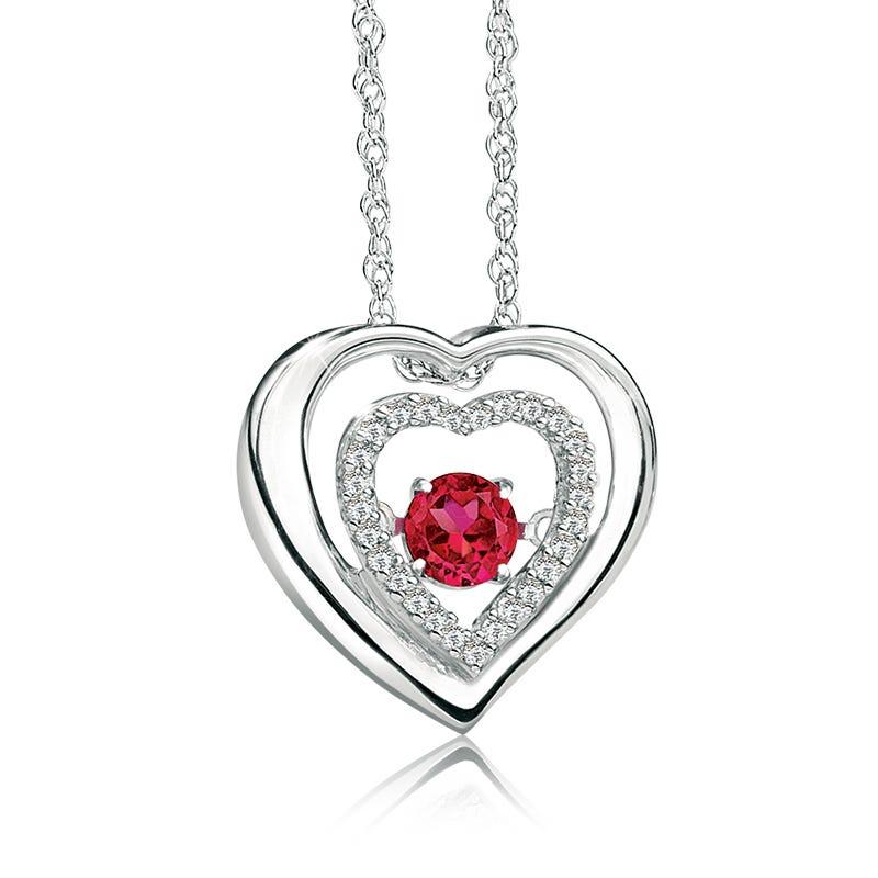 Beats of Love: Heart-in-Heart Ruby & Diamond Heart Pendant