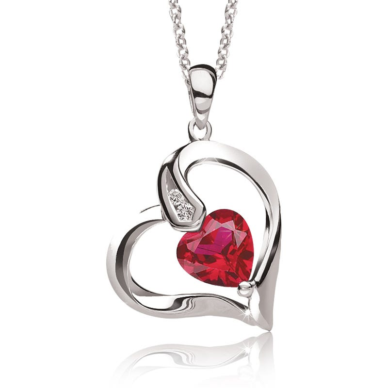 Created Ruby & Diamond Heart Pendant