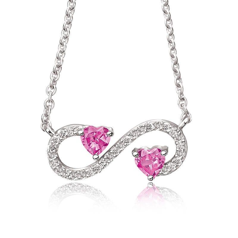 Created Pink Sapphire & Diamond Double Heart Pendant