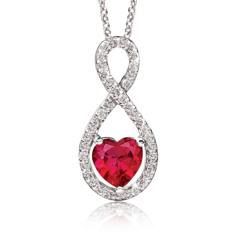 Created Ruby Heart & Diamond Pendant