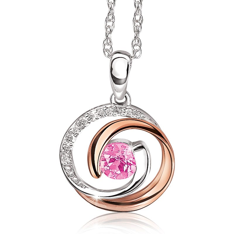 Created Pink Sapphire & Diamond Circle Pendant