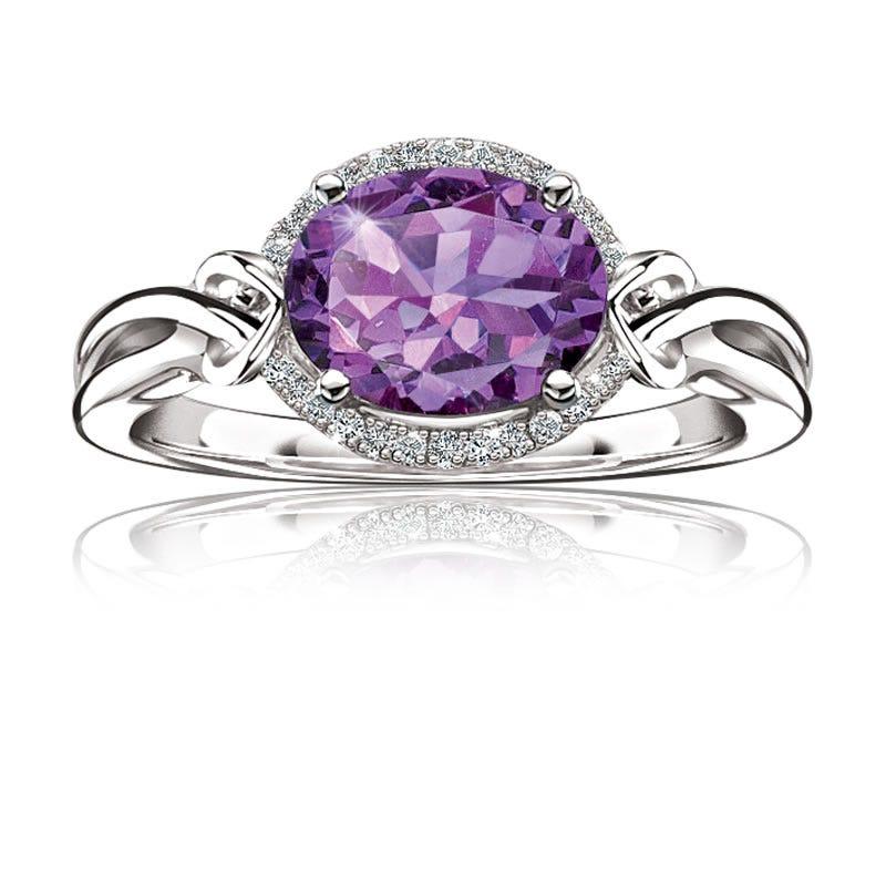 Purple Oval Amethyst Gemstone & Diamond Ring 10K