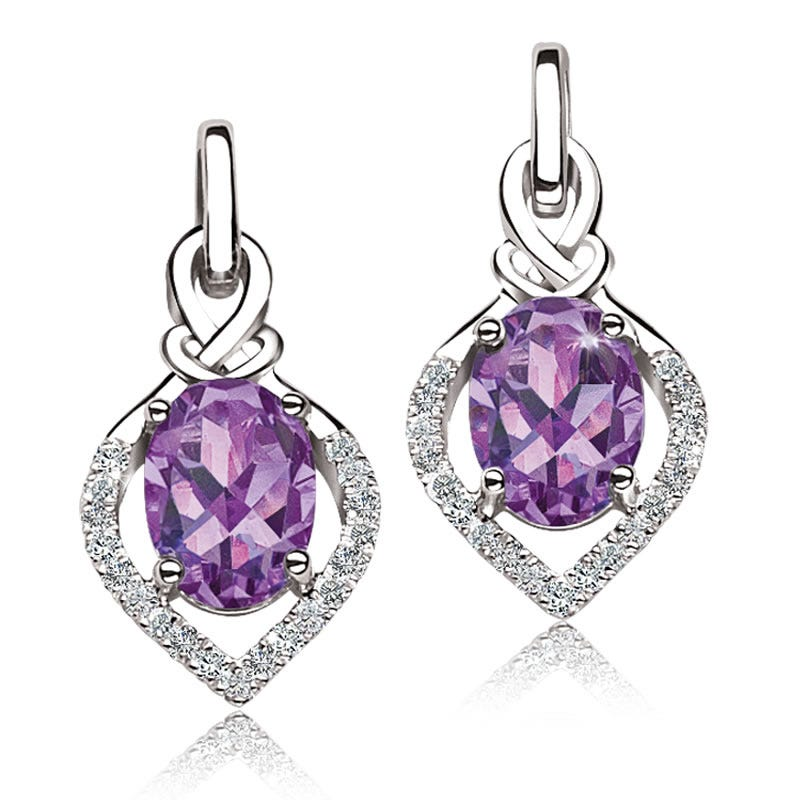 Oval Amethyst & Diamond Drop Earrings