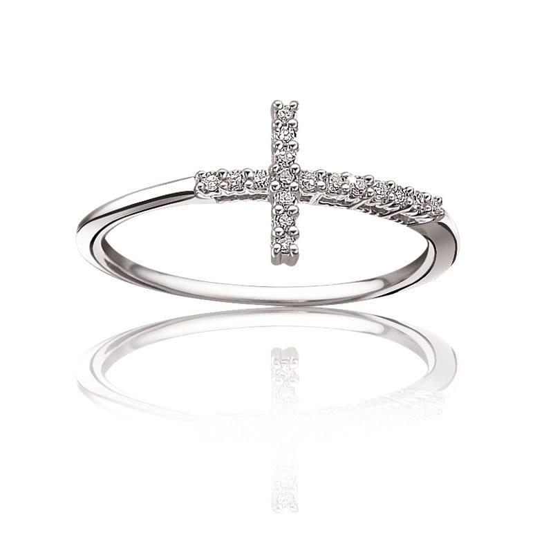 Diamond Sideways Cross Ring in Sterling Silver
