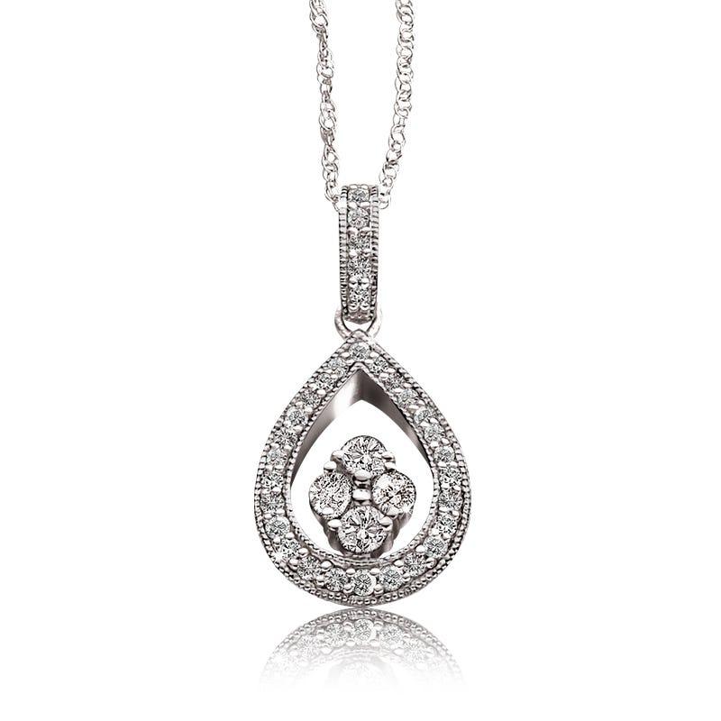 Diamond Double Pear White Gold Pendant 3/8ct.