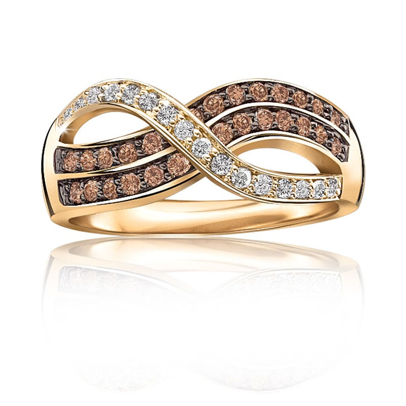 Infinity 1/2t. t.w. Champagne & White Diamond Ring in 10k Yellow Gold