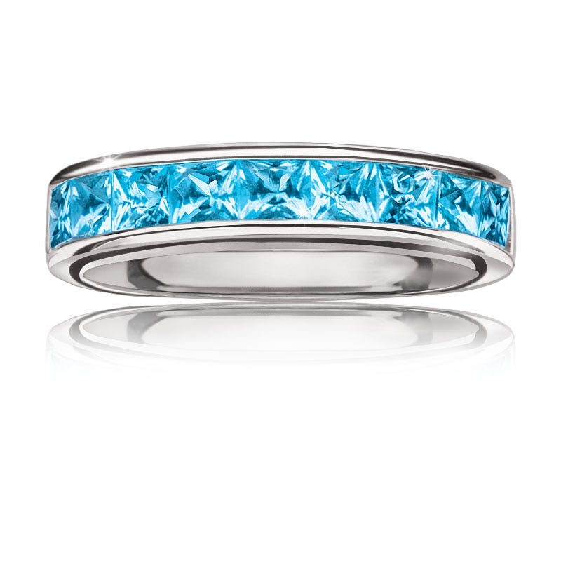 Blue Topaz Gemstone Stackable Ring in Sterling Silver