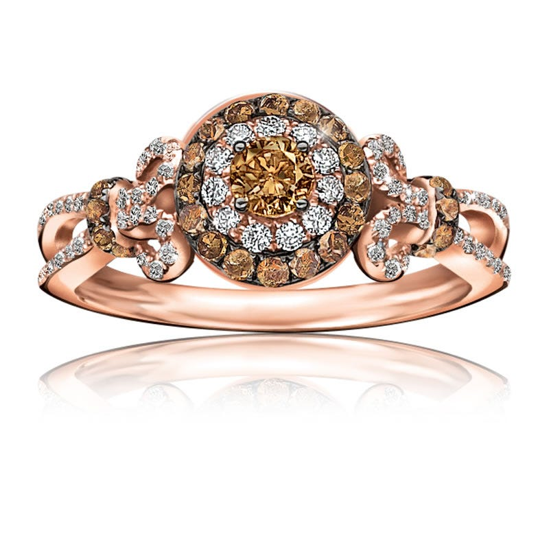 Champagne & White Diamond Ring ¾ctw. in 10K Rose Gold