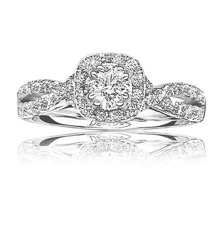 Sposabella. Demetrios Diamond Twist Halo Engagement Ring 1ctw. 14k White Gold
