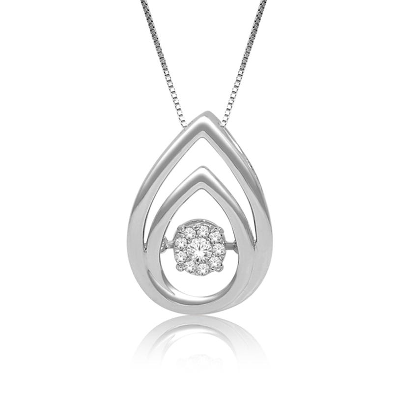 Beats of Love Diamond Double Teardrop Pendant in Sterling Silver