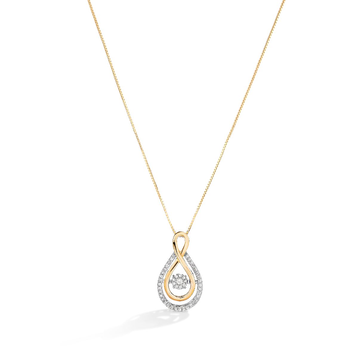 Beats of Love: Diamond Infinity Pendant in 10k Yellow Gold