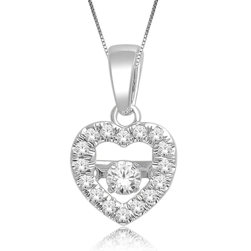 Beats of Love: 1/5ct. Diamond Heart Pendant in 10k White Gold