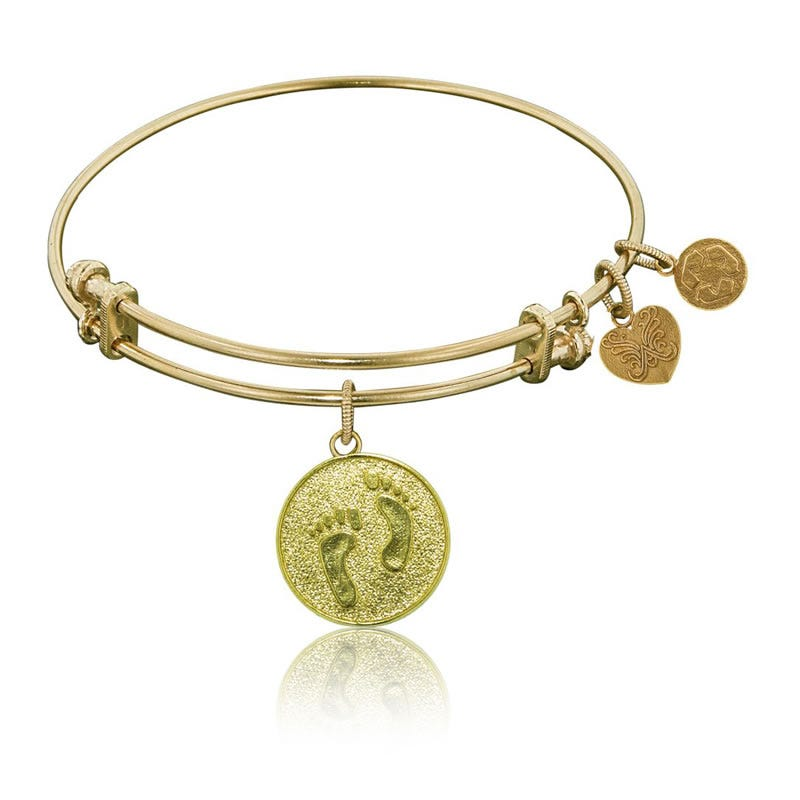 Barefoot in the Sand Charm Bangle Bracelet in Yellow Brass