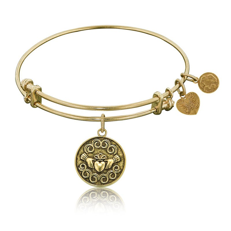 Claddagh Charm Bangle Bracelet in Yellow Brass