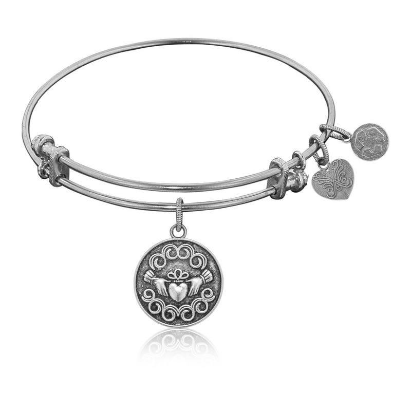 Claddagh Charm Bangle Bracelet in White Brass