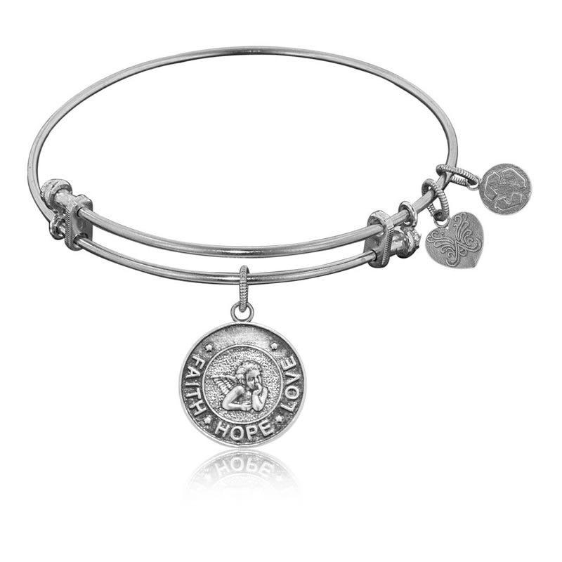 Faith-Hope-Love Charm Bangle Bracelet in White Brass