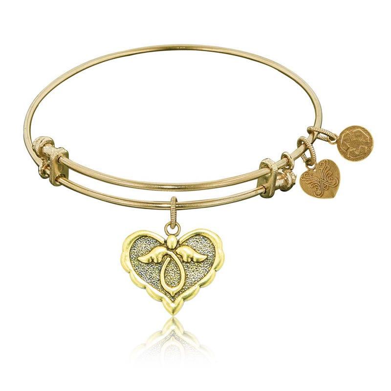 Angel Heart Charm Bangle Bracelet in Yellow Brass