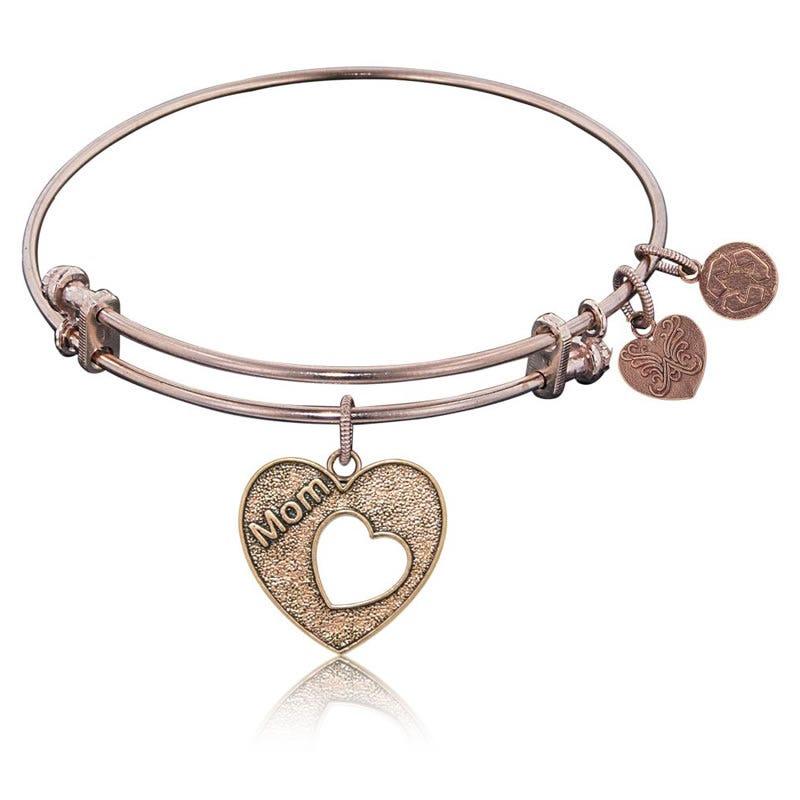 Mom Open Heart Charm Bangle Bracelet in Pink Brass