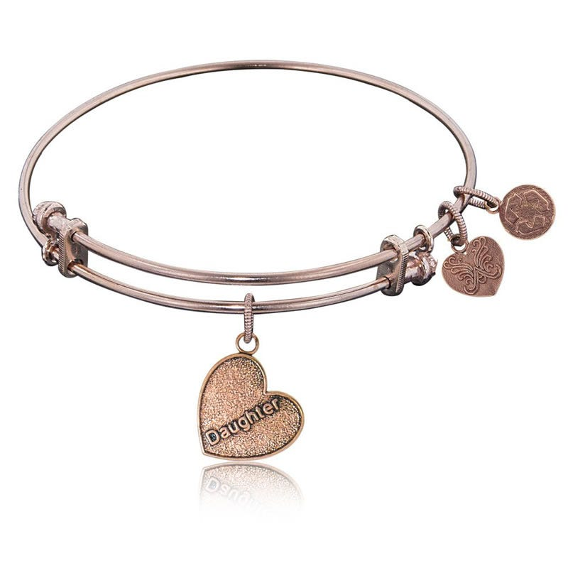 Daughter Charm Bangle Bracelet in Pink Brass