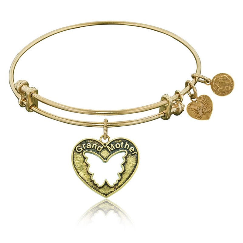 Grandmother Butterfly Charm Bangle Bracelet in Yellow Brass