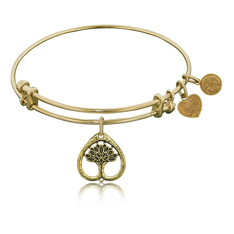 Tree of Life Charm Bangle Bracelet in Yellow Brass